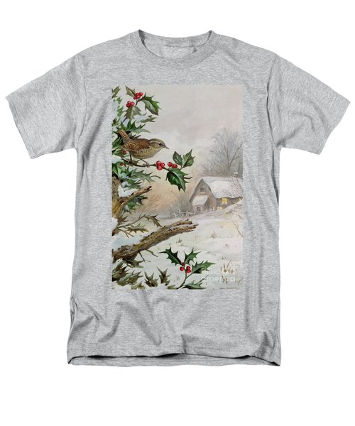 Wren In Hollybush By A Cottage Men's T-Shirt  (Regular Fit) by Carl Donner