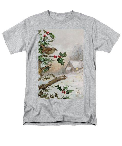 Wren In Hollybush By A Cottage Men's T-Shirt  (Regular Fit)