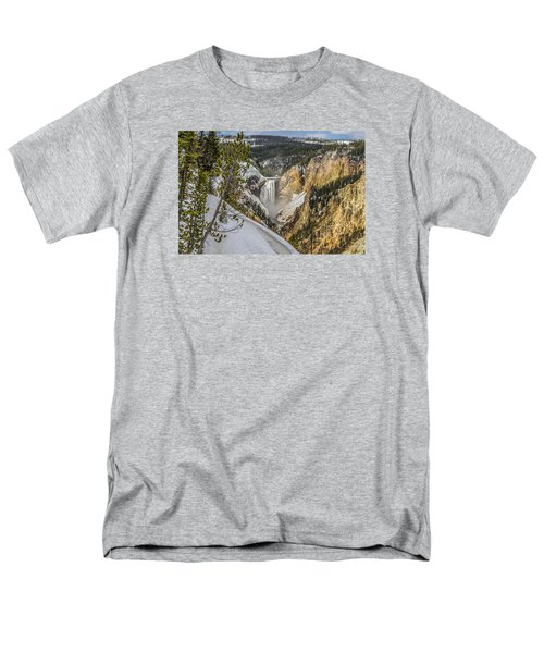 Yellowstone Falls In Winter Snow Men's T-Shirt  (Regular Fit) by Yeates Photography