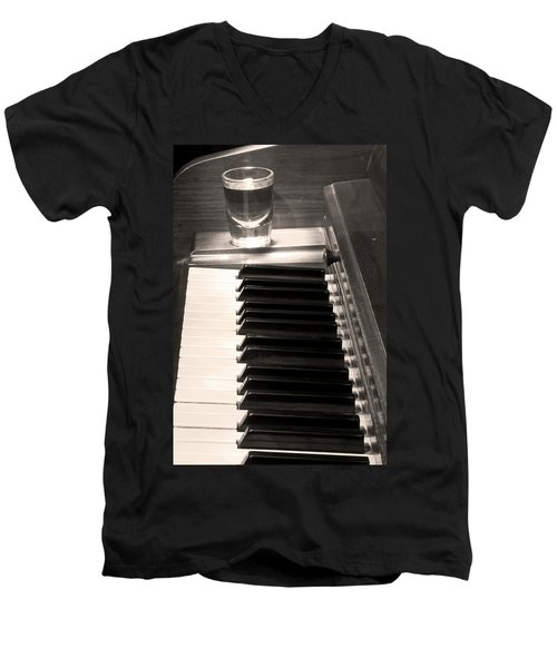 A Shot Of Bourbon Whiskey And The Bw Piano Ivory Keys In Sepia Men's V-Neck T-Shirt