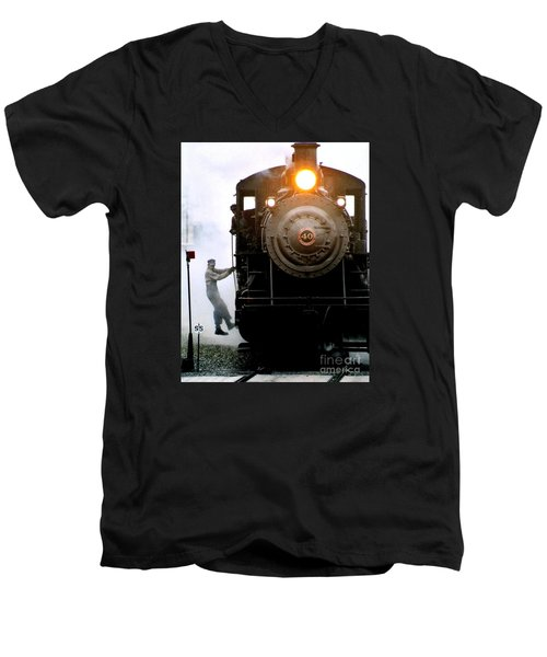 All Aboard The Number 40 At New Hope Pennsylvania Train Terminal Men's V-Neck T-Shirt by Michael Hoard