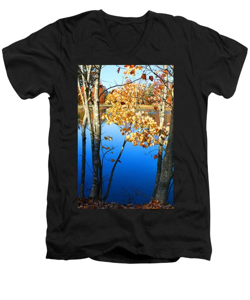 Autumn Trees On The Lake Men's V-Neck T-Shirt