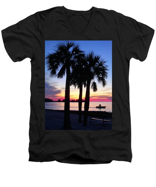 Men's V-Neck T-Shirt featuring the photograph  Beach Sunset by Aimee L Maher Photography and Art Visit ALMGallerydotcom
