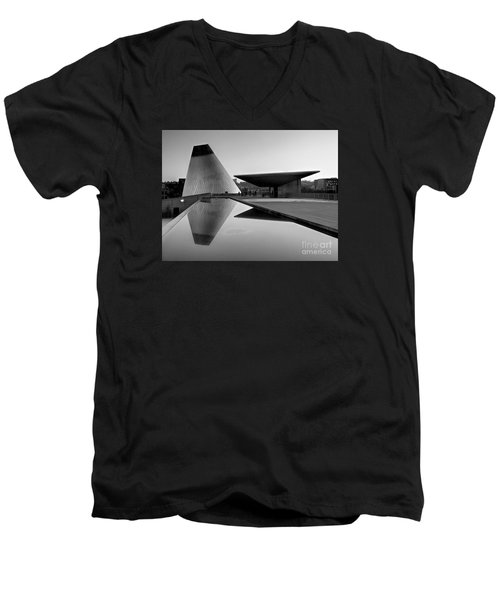 Men's V-Neck T-Shirt featuring the photograph  Black And White Mog Reflections  by Chris Anderson