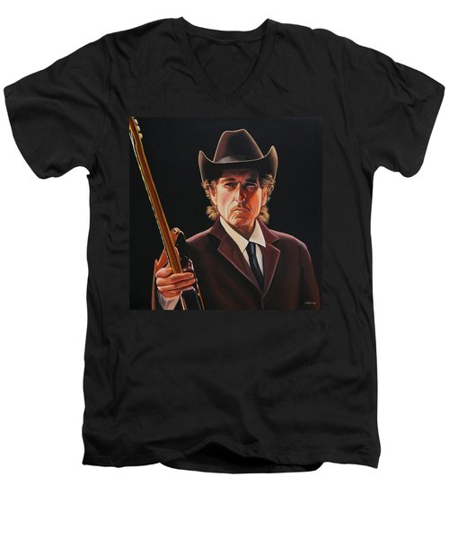 Bob Dylan 2 Men's V-Neck T-Shirt by Paul Meijering