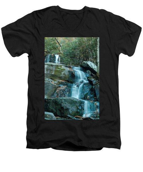 Men's V-Neck T-Shirt featuring the photograph  Bottom Of Laurel Falls by Patrick Shupert