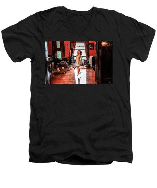 Men's V-Neck T-Shirt featuring the photograph  Brooklyn Dancing by Ray Congrove