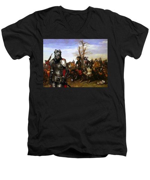 Cane Corso Art Canvas Print - Swords And Bravery Men's V-Neck T-Shirt