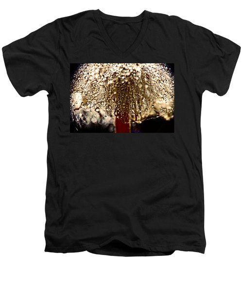 Men's V-Neck T-Shirt featuring the photograph  Dandelion Dew In Bronze by Peggy Collins