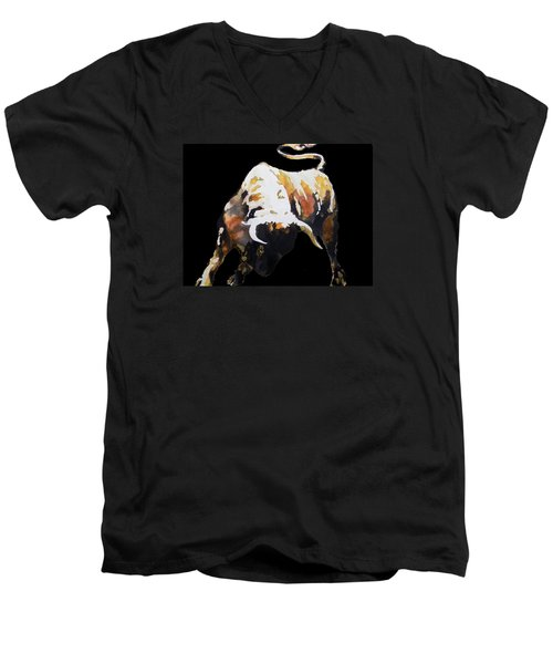 Fight Bull In Black Men's V-Neck T-Shirt by J- J- Espinoza
