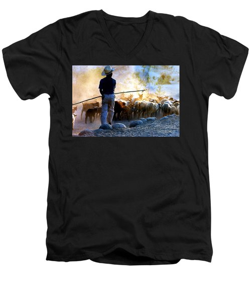 Herder Going Home In Mexico Men's V-Neck T-Shirt by Phyllis Kaltenbach