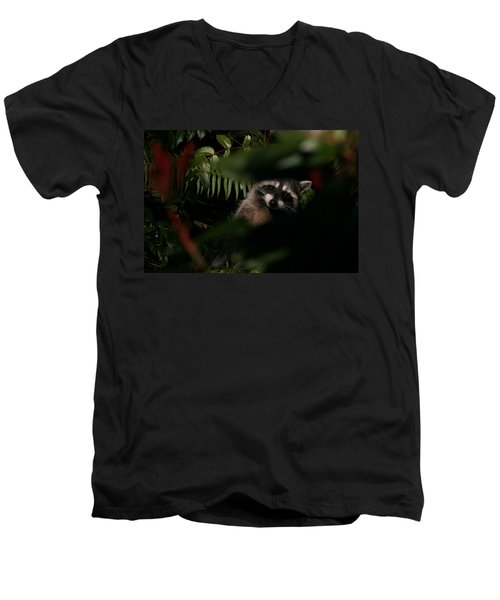 Men's V-Neck T-Shirt featuring the photograph  I Can See You  Mr. Raccoon by Kym Backland