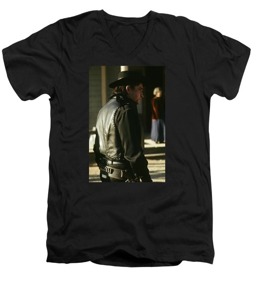 Men's V-Neck T-Shirt featuring the photograph  Johnny Cash About To Draw On Kirk Douglas Old Tucson Arizona 1971 by David Lee Guss