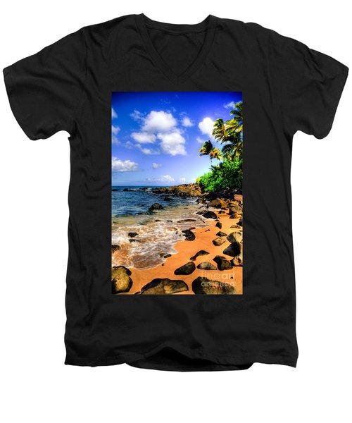 Laniakea Beach Men's V-Neck T-Shirt by Kelly Wade