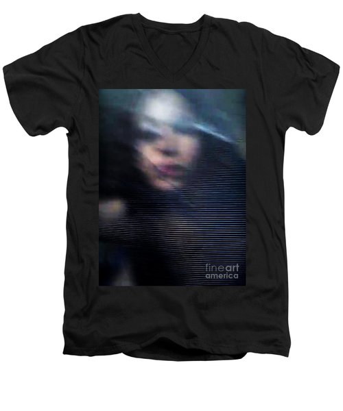 Men's V-Neck T-Shirt featuring the photograph  My Veneer by Jessica Shelton