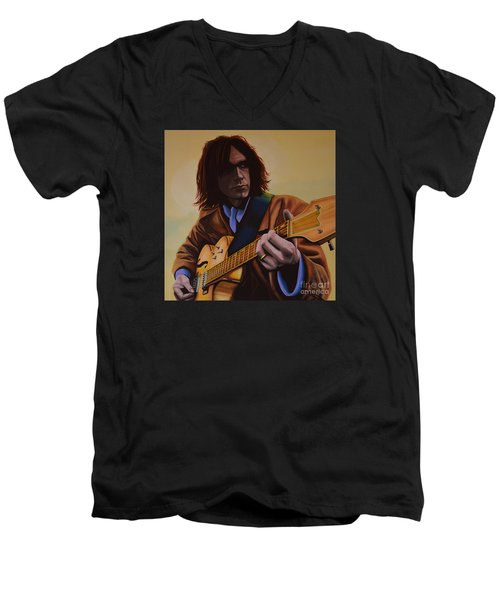 Neil Young Painting Men's V-Neck T-Shirt by Paul Meijering