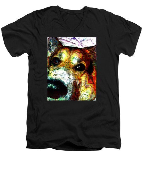 Pembroke Welsh Corgi Men's V-Neck T-Shirt by Alene Sirott-Cope