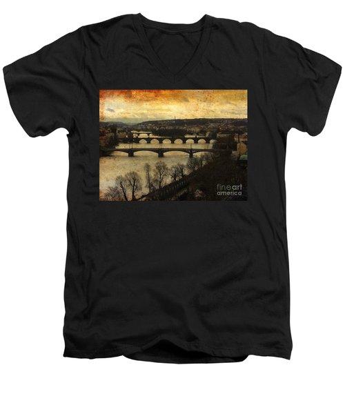 Vintage Prague Vltava River Men's V-Neck T-Shirt