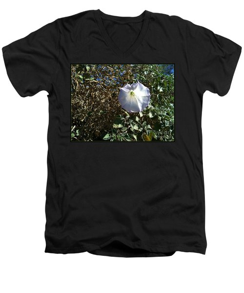 Men's V-Neck T-Shirt featuring the photograph  Sacred Datura by Angela J Wright