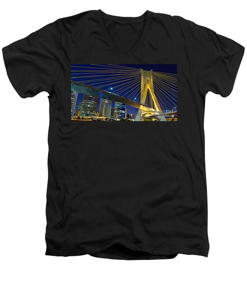 Sao Paulo's Iconic Cable-stayed Bridge  Men's V-Neck T-Shirt