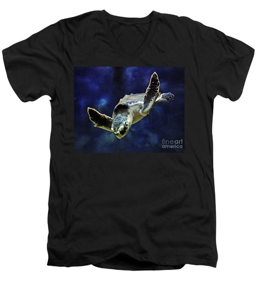 Men's V-Neck T-Shirt featuring the photograph  Sea Turtle by Savannah Gibbs