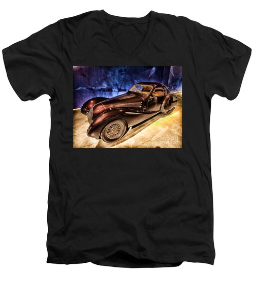 Men's V-Neck T-Shirt featuring the photograph  Talbot Lago 1937 Car Automobile Hdr Vehicle  by Paul Fearn