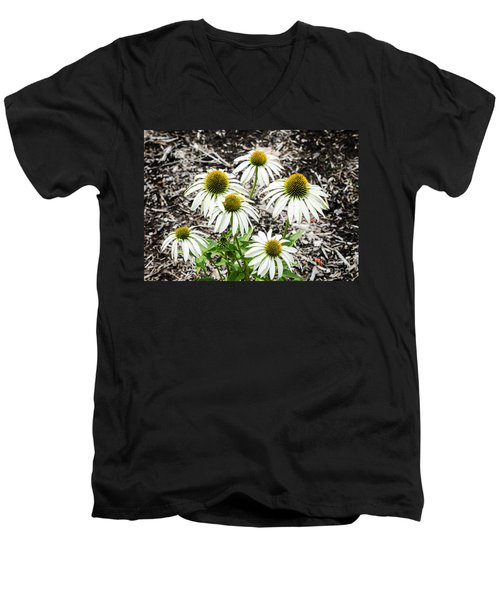 Men's V-Neck T-Shirt featuring the photograph  White Echinacea by Paul Mashburn