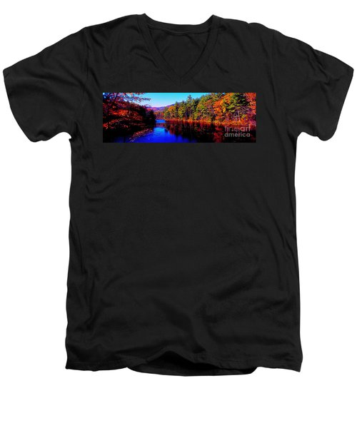 White Mountians National Park Red Eagle Pond New Hampshire Men's V-Neck T-Shirt