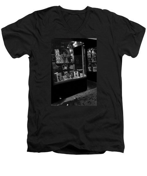Men's V-Neck T-Shirt featuring the photograph  Window Display Night Of Elvis Presley's Death Recordland Portland Maine  1977 by David Lee Guss