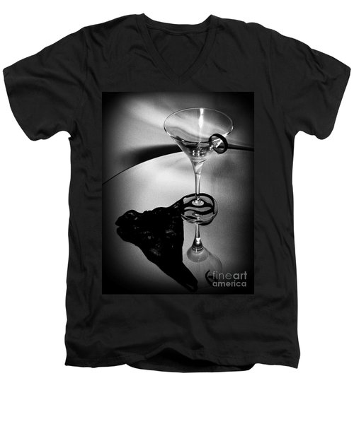 Men's V-Neck T-Shirt featuring the photograph  Martini Glass Charm by Linda Bianic