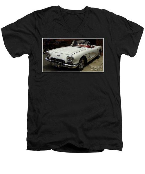 Men's V-Neck T-Shirt featuring the photograph 1958 Chevrolet Corvette by James C Thomas