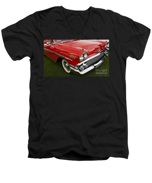 1958 Chevy Impala Men's V-Neck T-Shirt by Linda Bianic
