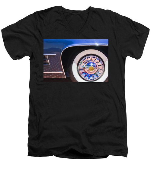 Men's V-Neck T-Shirt featuring the photograph 1962 Ghia L6.5 Coupe Wheel Emblem by Jill Reger