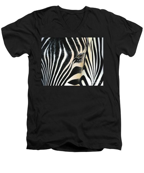 Men's V-Neck T-Shirt featuring the painting A Moment's Reflection by Mike Brown