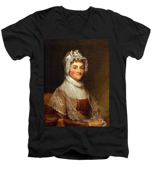 Men's V-Neck T-Shirt featuring the photograph Abigail Smith Adams By Gilbert Stuart by Cora Wandel