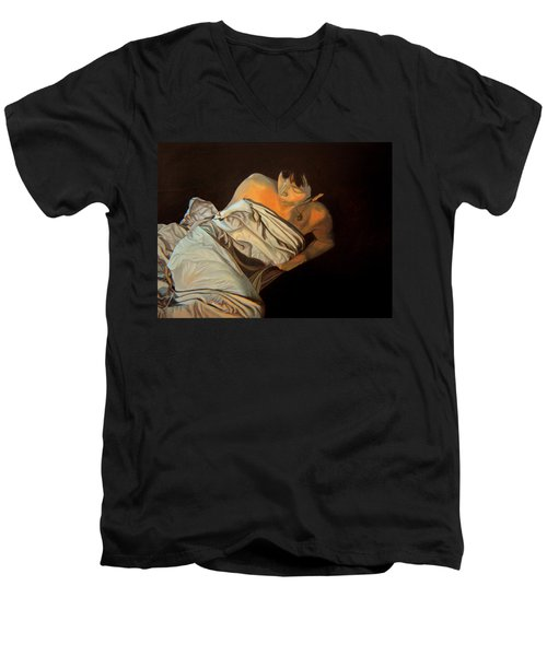 Men's V-Neck T-Shirt featuring the painting 1 Am by Thu Nguyen