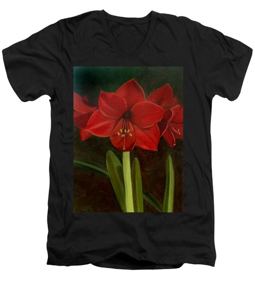 Men's V-Neck T-Shirt featuring the painting Amaryllis by Nancy Griswold