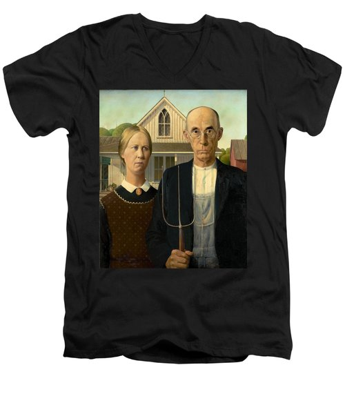 American Gothic Men's V-Neck T-Shirt by Grant Wood