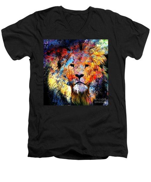 Ancient Lion King Men's V-Neck T-Shirt by Annie Zeno