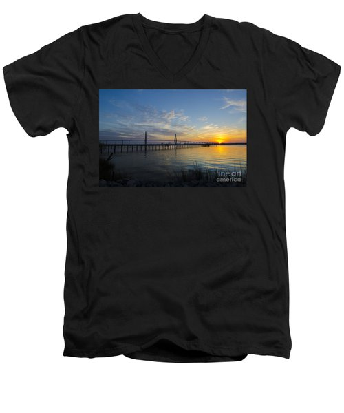 Sunset Over The Charleston Waters Men's V-Neck T-Shirt by Dale Powell