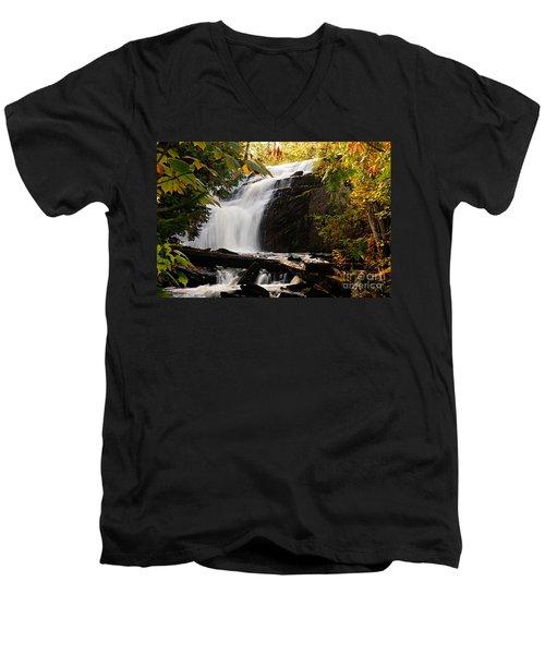Autumn At Cattyman Falls Men's V-Neck T-Shirt