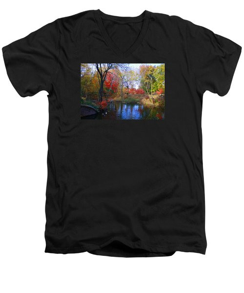Autumn By The Creek Men's V-Neck T-Shirt by Dora Sofia Caputo Photographic Art and Design