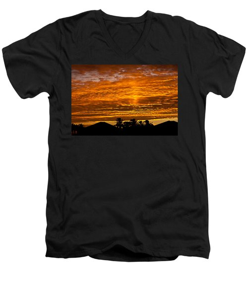 Men's V-Neck T-Shirt featuring the photograph 1 Awsome Sunset by Brian Williamson