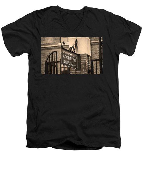 Baseball Warning Men's V-Neck T-Shirt by Frank Romeo