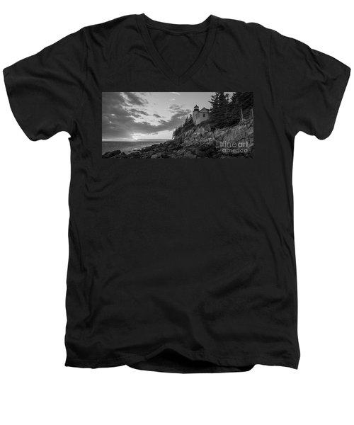 Bass Harbor Head Light Sunset  Men's V-Neck T-Shirt
