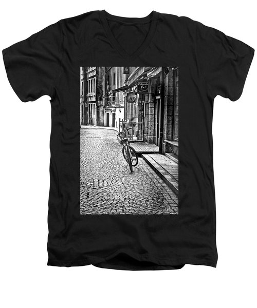 Men's V-Neck T-Shirt featuring the photograph Bicycle And Sparrow 2  by Elf Evans