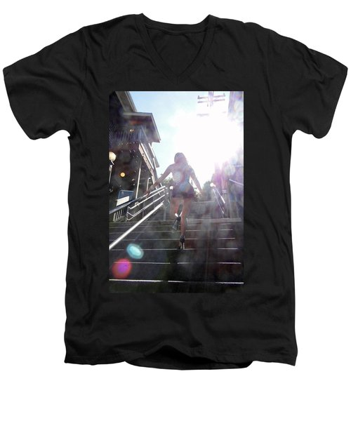 Men's V-Neck T-Shirt featuring the photograph Blink by Nick David