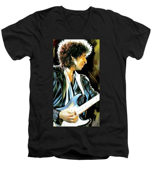 Bob Dylan Artwork 2 Men's V-Neck T-Shirt by Sheraz A