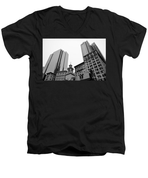 Boston Cityscape Black And White Men's V-Neck T-Shirt
