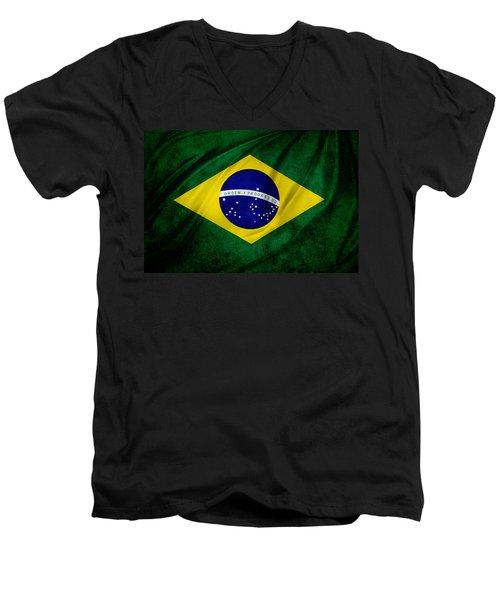 Brazilian Flag Men's V-Neck T-Shirt